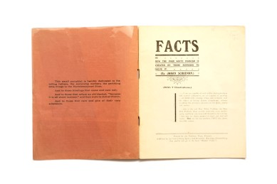 Title: Facts, or how the poor white problem is created by those supposed to solve it Photographer(s): A. Blaettler Designer(s): - Writer(s): Johan Schoeman Publisher: Central News Agency, Johannesburg 1923 (Printed by the Northern Press, Pretoria) Pages: 20 (7 photographs) Language: English ISBN: - Dimensions: 23×18.5 cm Edition: Country: South Africa