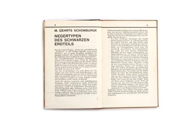 Title: Negertypen des schwarzen Erdteil Photographer(s): H.A. Bernatzik, Georges Specht and Leon Poirier (photographs were taken from various other books such as La croisière noire Designer(s): – Writer(s): M. Gehrts Schomburgk,  Publisher: Orell Füssli Verlag, Zürich 1930 (published by Dr. Emil Schaeffer in the series Schaubücher 17) Pages: 16 textpages, 65 photographic plates Language: German ISBN: – Dimensions: 13 x 19.5 cm Edition: – Country: Various countries