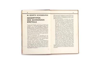 Title: Negertypen des schwarzen Erdteil Photographer(s):H.A. Bernatzik,Georges Specht andLeon Poirier (photographs were taken from various other books such asLa croisière noire Designer(s): – Writer(s):M. Gehrts Schomburgk, Publisher: Orell Füssli Verlag, Zürich 1930 (published by Dr. Emil Schaeffer in the series Schaubücher 17) Pages: 16 textpages, 65 photographic plates Language:German ISBN: – Dimensions:13 x 19.5 cm Edition: – Country: Various countries