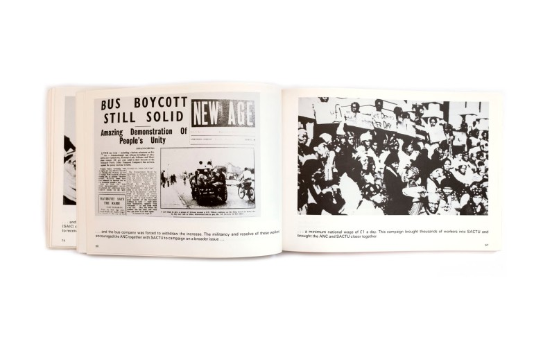 Title: Unity in Action Photographer(s):various photographers Designer(s): unknown Writer(s):Oliver Tambo (introduction) Publisher: African National Congress, London 1982 Pages: 156 Language:English ISBN: 0-903082039 Dimensions:29.5 x 20.5 cm Edition: – Country:South Africa