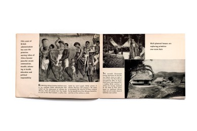 Title: African achievement. Building tomorrow in British West Africa Photographer(s): Various British official photographers, E.R. Duckswoth, Dorein Leign, Lubinsku and Rischgitz Studios Designer(s): – Writer(s): - Publisher: British Information Services, New York 1946 Pages: 20 Language: English ISBN: – Dimensions: 21 x 16 cm Edition: Country: Various countries