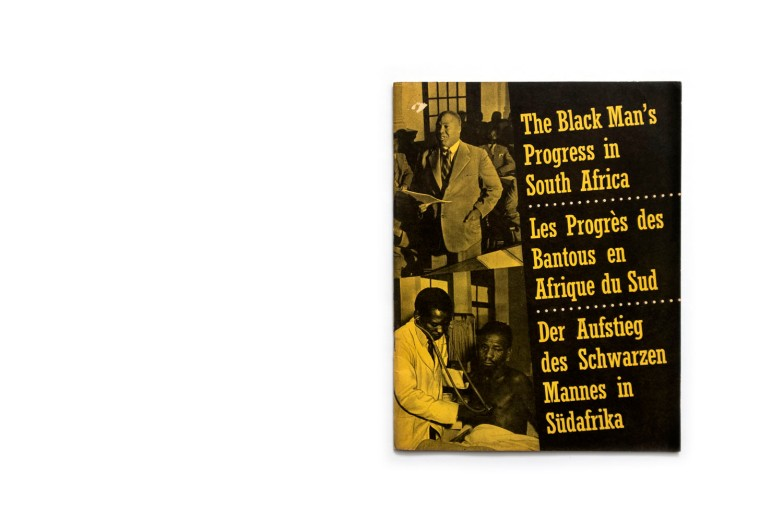 Title: The Black Man's Progress in South Africa Photographer(s): Various photographers, S.A. Tourist Corporation Writer(s): – Designer(s): - Publisher: State information Office, n.p. / n.d.  Language: English, French and German ISBN: - Dimensions: 21 x 27,5 cm Edition: This booklet, issued by the State Information Office, is  a reprint of an article which appeared in Lantern, the Journal of the South African Association for Adult Education in 1956. Country: South Africa