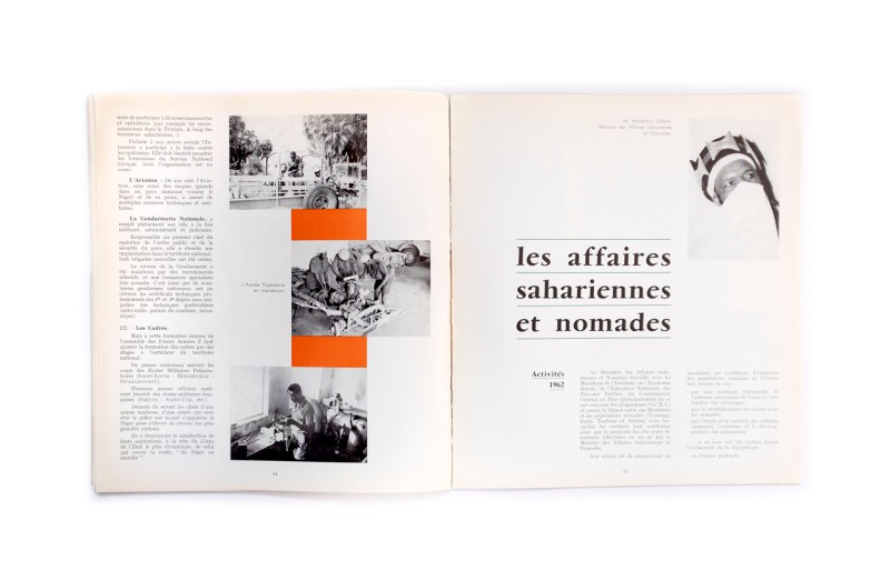 Title: Le Niger en Marche Photographer(s): Service Information Niger Designer(s): Guy Le Péron Writer(s): - Publisher: Direction de l'Information et la Presse de la République du Niger, Niamey 1962 Pages: 56 Language: French ISBN: Edition: Dimensions: 24 x 26.5 cm Country: Niger