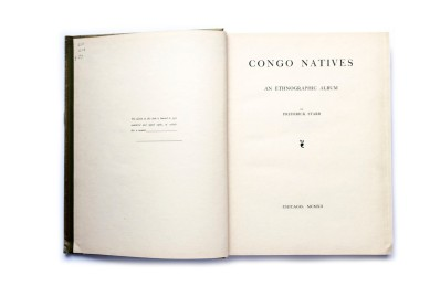 Title: Congo Natives Photographer(s): Manuel Gonzales. Some additional photos by Joseph Clark, R.H. Kirkland and William L. Forfeitt Designer(s): unknown Writer(s): Frederick Starr Publisher: Lakeside Press, Chicago 1912 Pages: 38 text pages + 130 collotype plates (collotypes) Language: English ISBN: – Edition: 500 (Congo Natives had a print run of 500 signed and numbered books, this book wasn't signed and numbered) Dimensions: 25 x 32 cm Country: Belgian Congo, Democratic Republic of Congo To view the complete book click here