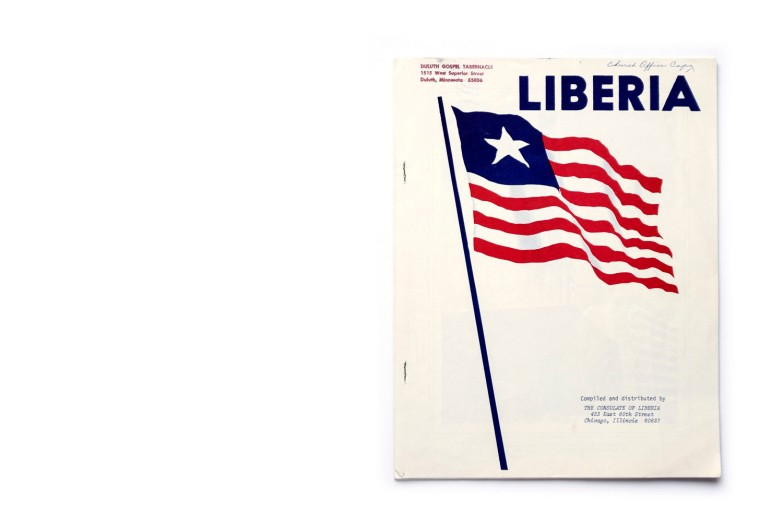 Title: Liberia Photographer(s): unknown Designer(s): unknown Writer(s): unknown Publisher: The Consulate of Liberia, Chicago 1967 (?) Pages: 14 Language: English ISBN: – Edition: – Dimensions: 21.7 x 28 cm Country: Liberia