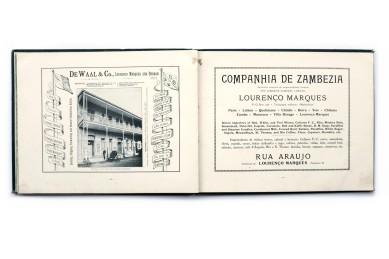 Title: A souvenir of Lourenço Marques Photographer(s): Joseph Lazarus and Maurice Lazarus Designer(s): - Writer(s): – Publisher: J. & M. Lazarus, Lourenço Marques 1901 Pages: 82 pp, 38 photographic plates and many advertisements Language: English ISBN: – Edition: – Dimensions: 29 x 23 cm Country: Mozambique