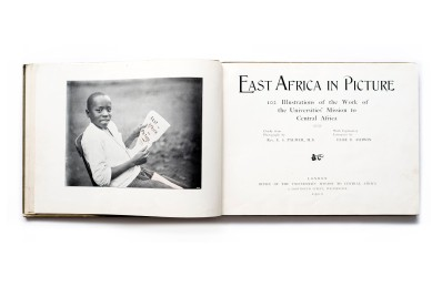 Title: East Africa in Picture Photographer(s): Rev. E.S. Palmer and others such as A.C. Gomez  Designer(s): - Writer(s): Elsie B. Ashwin Publisher: Office of the Universities' Mission to Central Africa, London 1900 Pages: 72 Language: English ISBN: – Dimensions: 29.5 x 22,5 cm Edition: unknown, green, blue and red cover colours are known. Country: British East Africa and Nyasaland (Tanzania and Malawi)