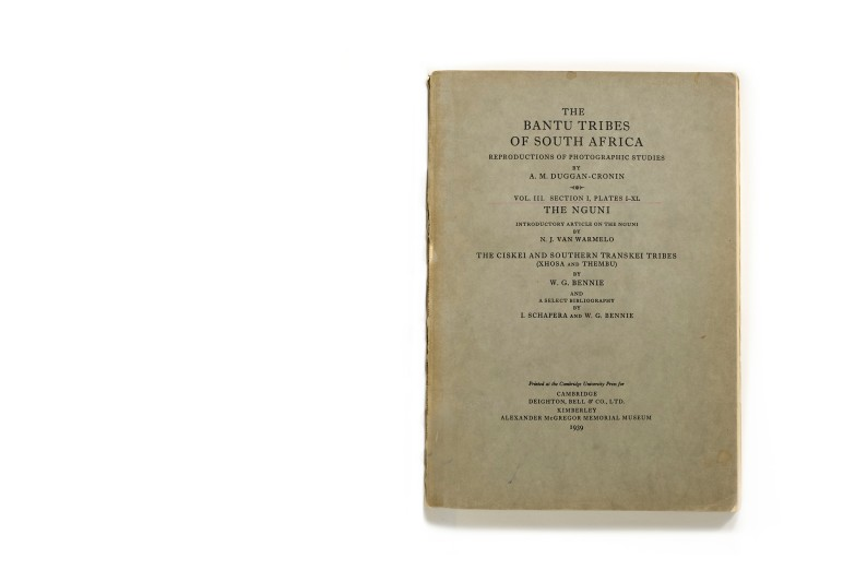 Title: The Bantu Tribes of South Africa. Volume III: Section I, Plates I-XL: The Nguni  Photographer(s): Alfred Martin Duggan-Cronin Designer(s): – Writer(s): N.J. van Warmelo and W. G. Bennie Publisher: Deighton, Bell & Co., Cambridge 1939 and Alexander McGregor Memorial Museum, Kimberley 1939 Pages: 40 photographic plates plus text pages Language: English Dimensions: 21 x 30 cm Edition: ? Country: South Africa